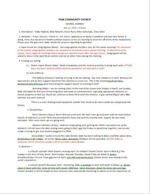Council Minutes 3/25/19