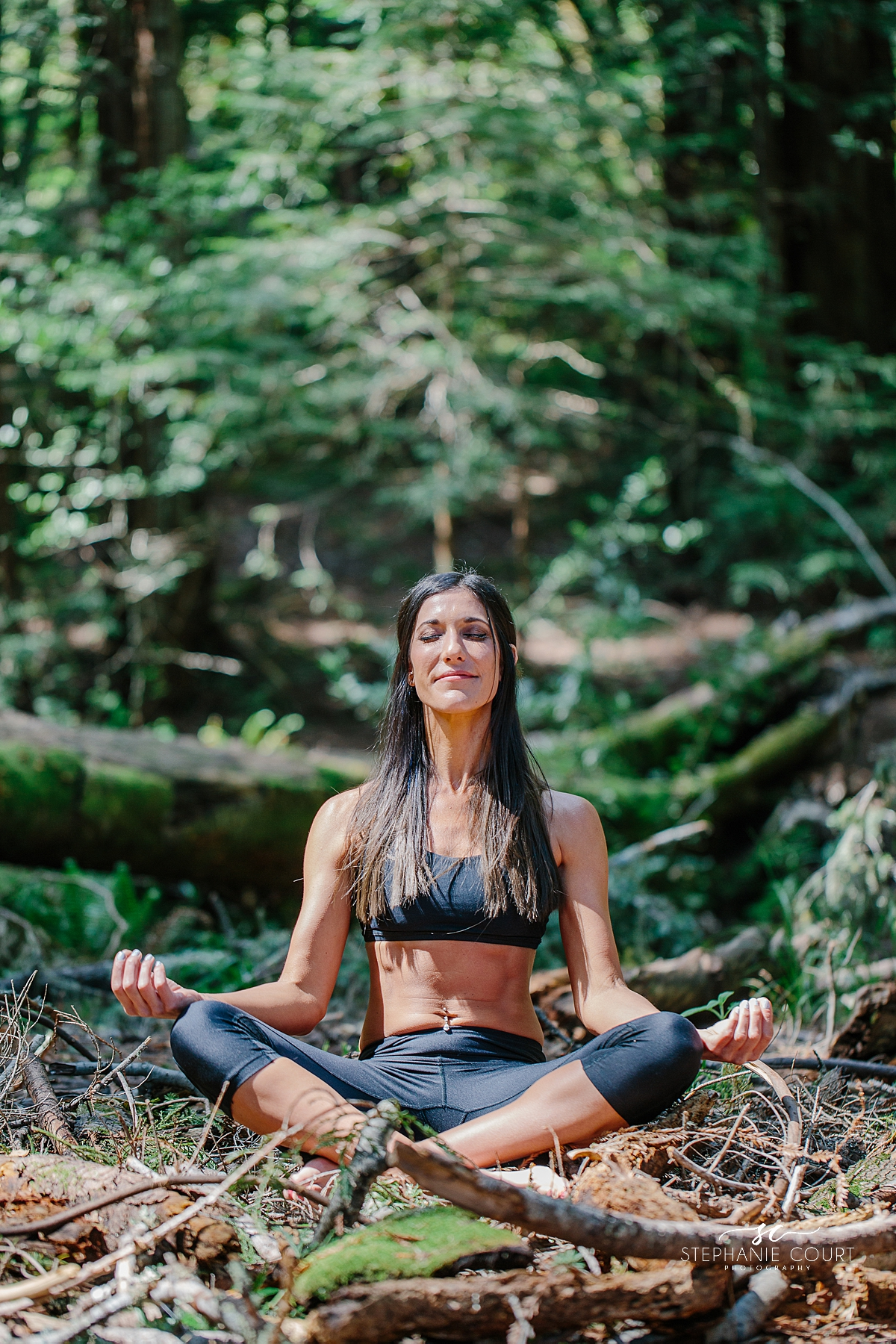 meditation in redwoods branding photography