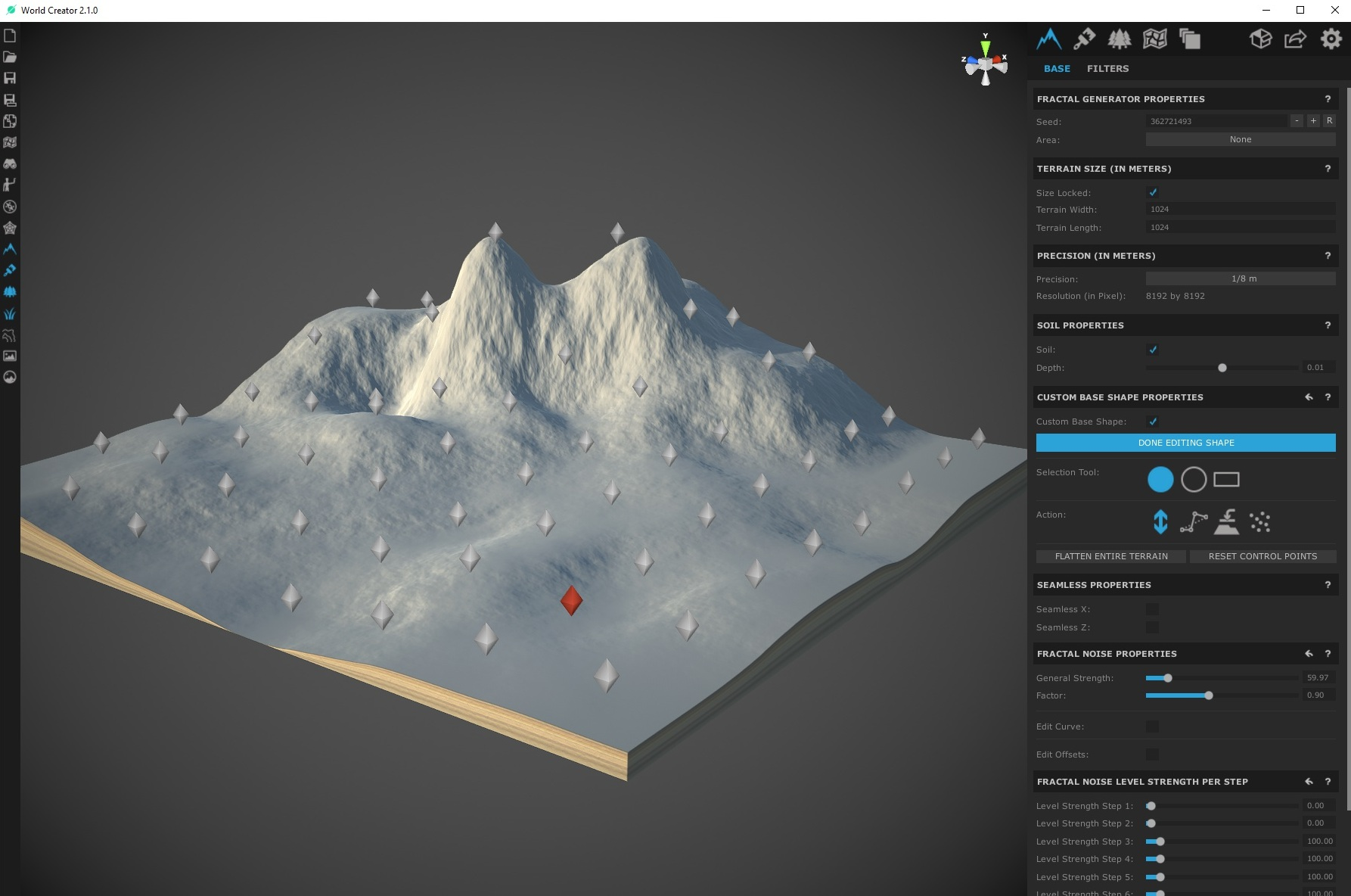 Starting with a detailed base terrain helps when adding filters.