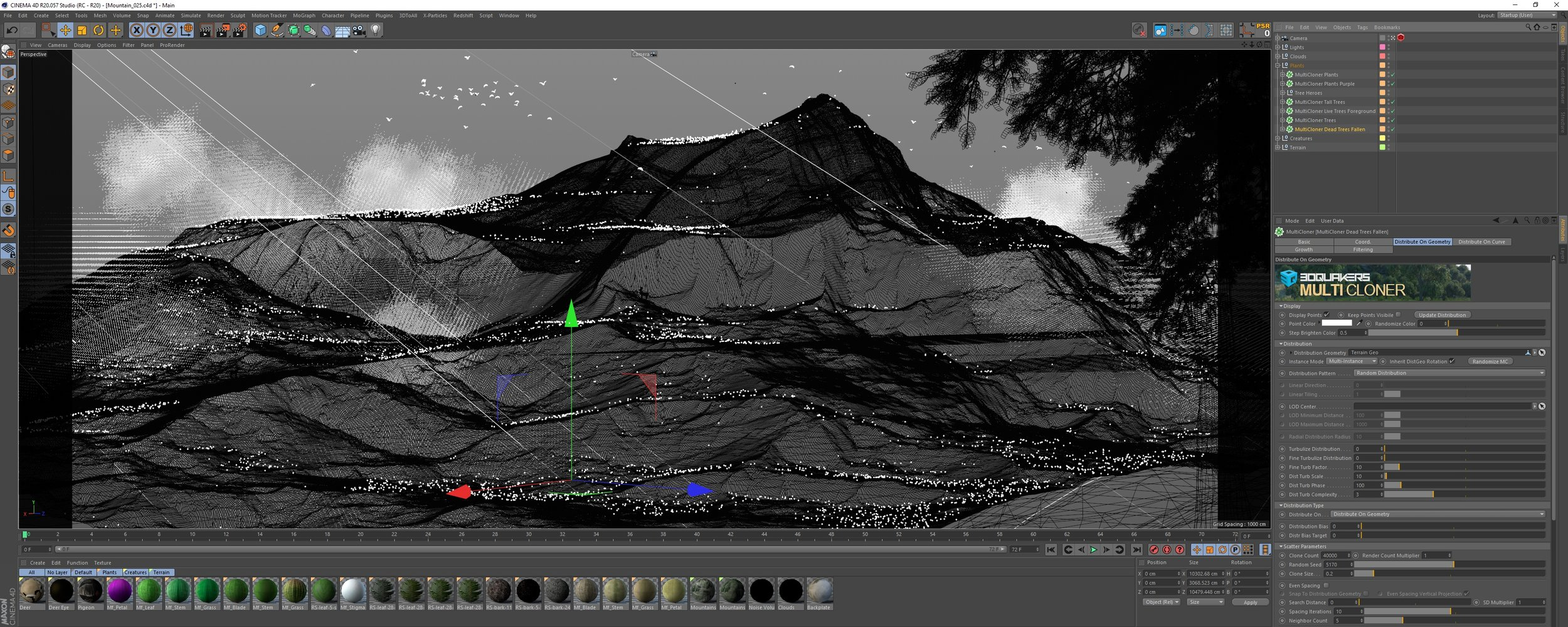 Screenshot of the MultiCloner in action, distributing trees on flat surfaces.