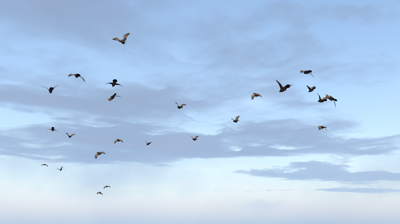 Flock of birds created with a cloner and random effector.