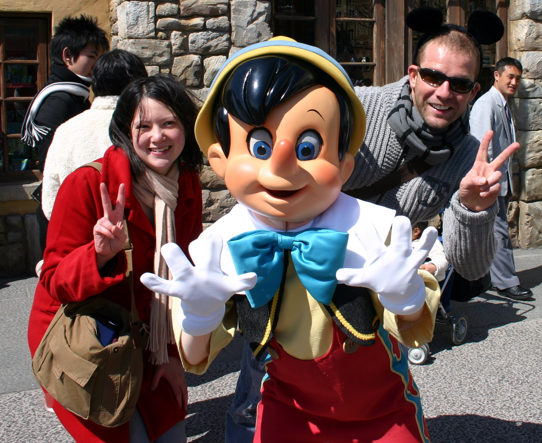 Alicia and Tim with habitual fibber, Pinocchio
