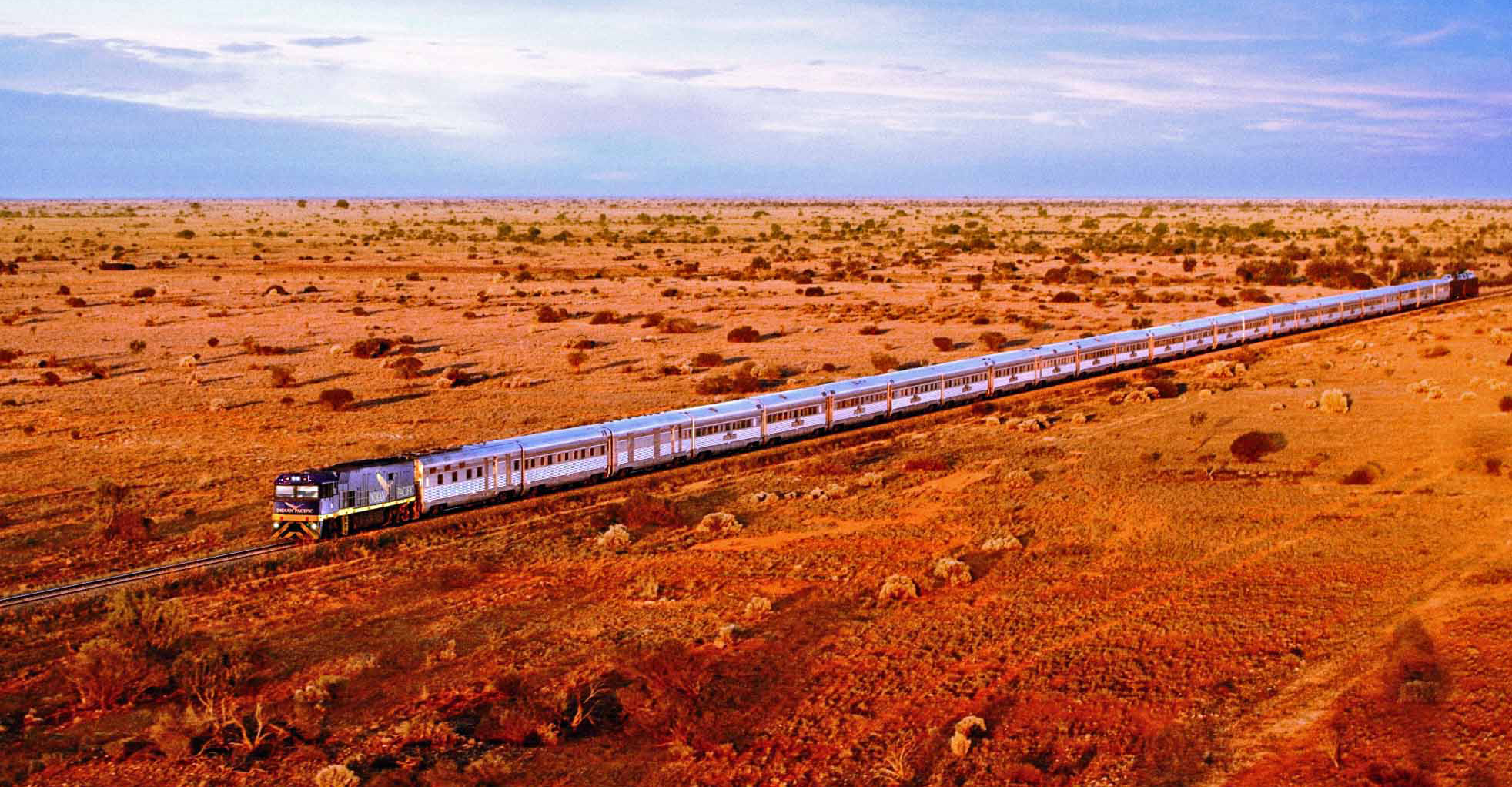 Outback: The Indian Pacific takes 65 hours to travel from Sydney to Perth.