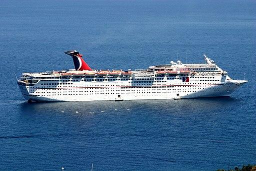 Carnival Ecstasy cruise ship at anchor off Santa Catalina Island.