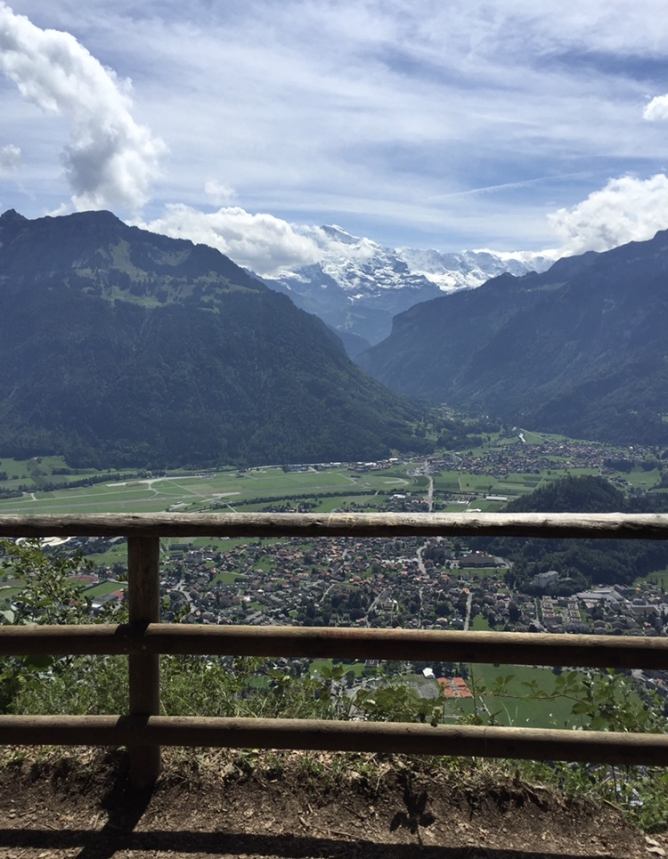 A view of the Jungfrau glacier from an adjacent mountain.