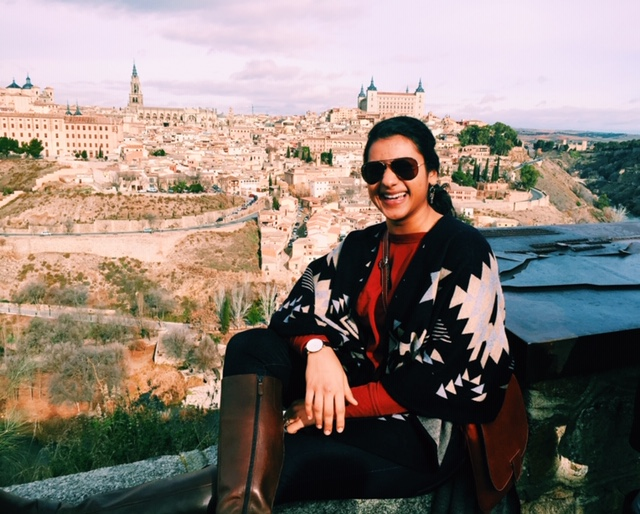 Faizah on her Atlantis Fellowship in Spain, overlooking the city of Toledo.