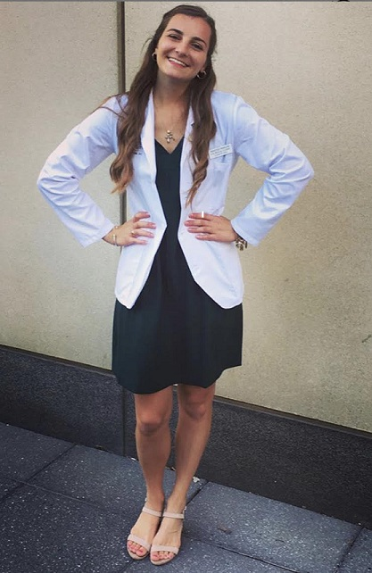 Marissa at her white coat ceremony.