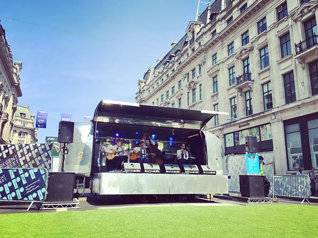 Garden party on Regent Street anyone?  Every Sunday throughout July we'll be here in the heat with a program of cool live summer Jazz. . . #summerstreets  #airstreamstage  #dasaudio