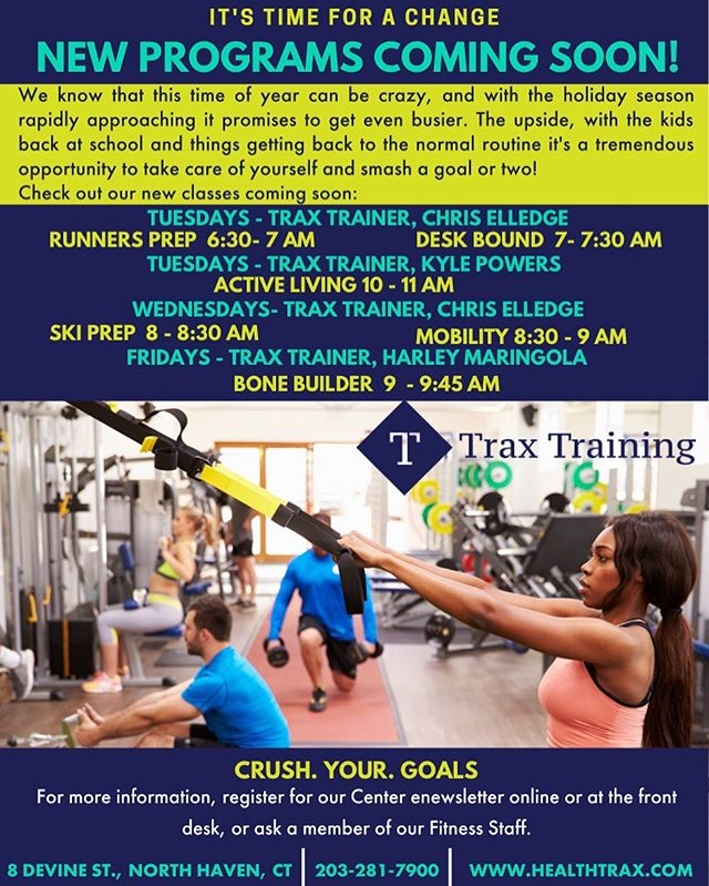 Healthtrax is proud to announce the addition of 6 new Small Group Training Programs! 🥇🥇🥇 Runners Prep Tuesday's at 6:30am 🏃♀️ Desk Bound Tuesday's at 7:00am 👨🏻💻 Active Living Tuesday's at 10:00am 🚣🏽♂️🏊🏼♂️ Ski Prep Wednesday at 8:00am ⛷🎿 Mobility Wednesday's at 8:30am 🧘🏼♂️ Bone Builder Friday's at 9:00am 🦴  These programs will be available during our next trial week!  #personaltrainer #fitness #fitpro #trainer #coach #sweatindustry #gym #athlete #train #exercise #workout #youcandoit #growth #fitlife #fitfam #fitnessmotivation #trainhard #getfit #fit #healthy #myzone #healthtraxfitness #healthtrax #traxtraining #myzone #strength