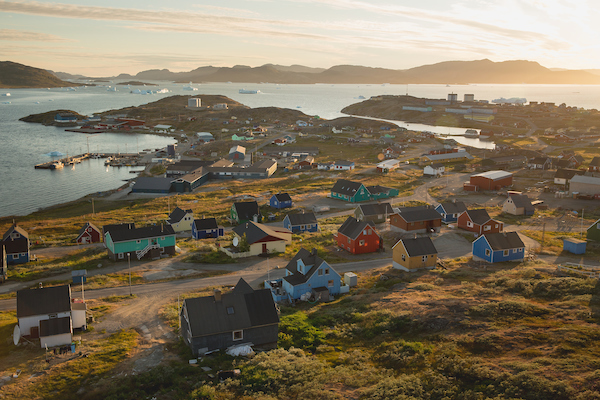 Sunset over Narsaq in South Greenland.jpg