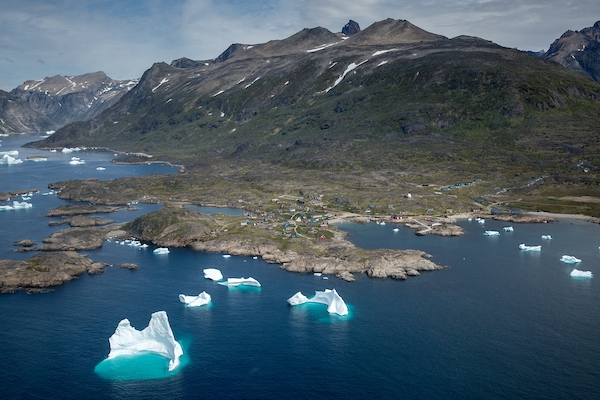 An aerial view of the small village Narsarmiit in South Greenland, one of the southernmost populated places in the country.jpg