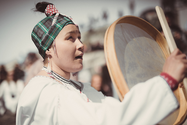 A drum dancer performing in Nuuk on National Day in Greenland.jpg