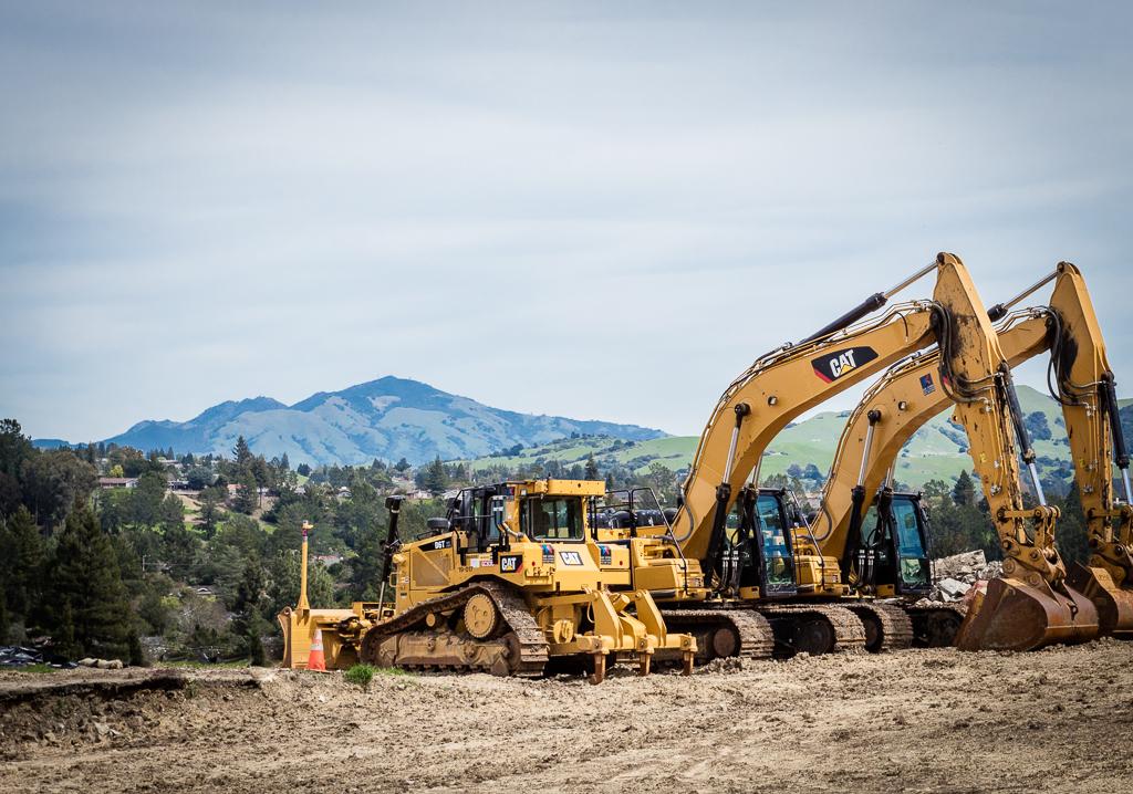 Construction underway at J & J Ranch custom home development, Orinda, CA, 94563.