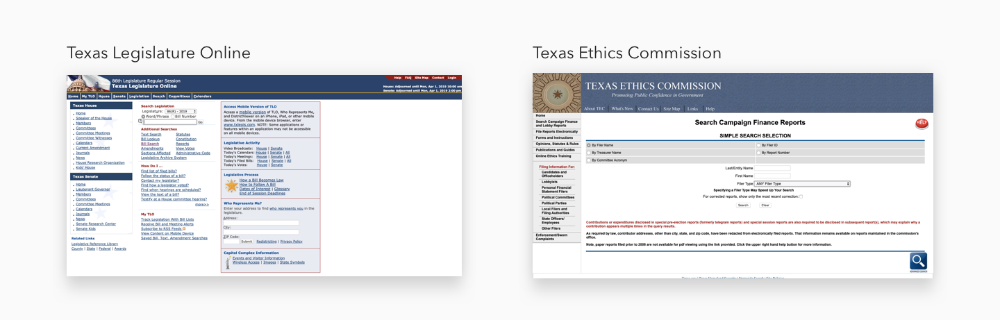 The official resources for information about Texas legislators, bills, donors, and issues