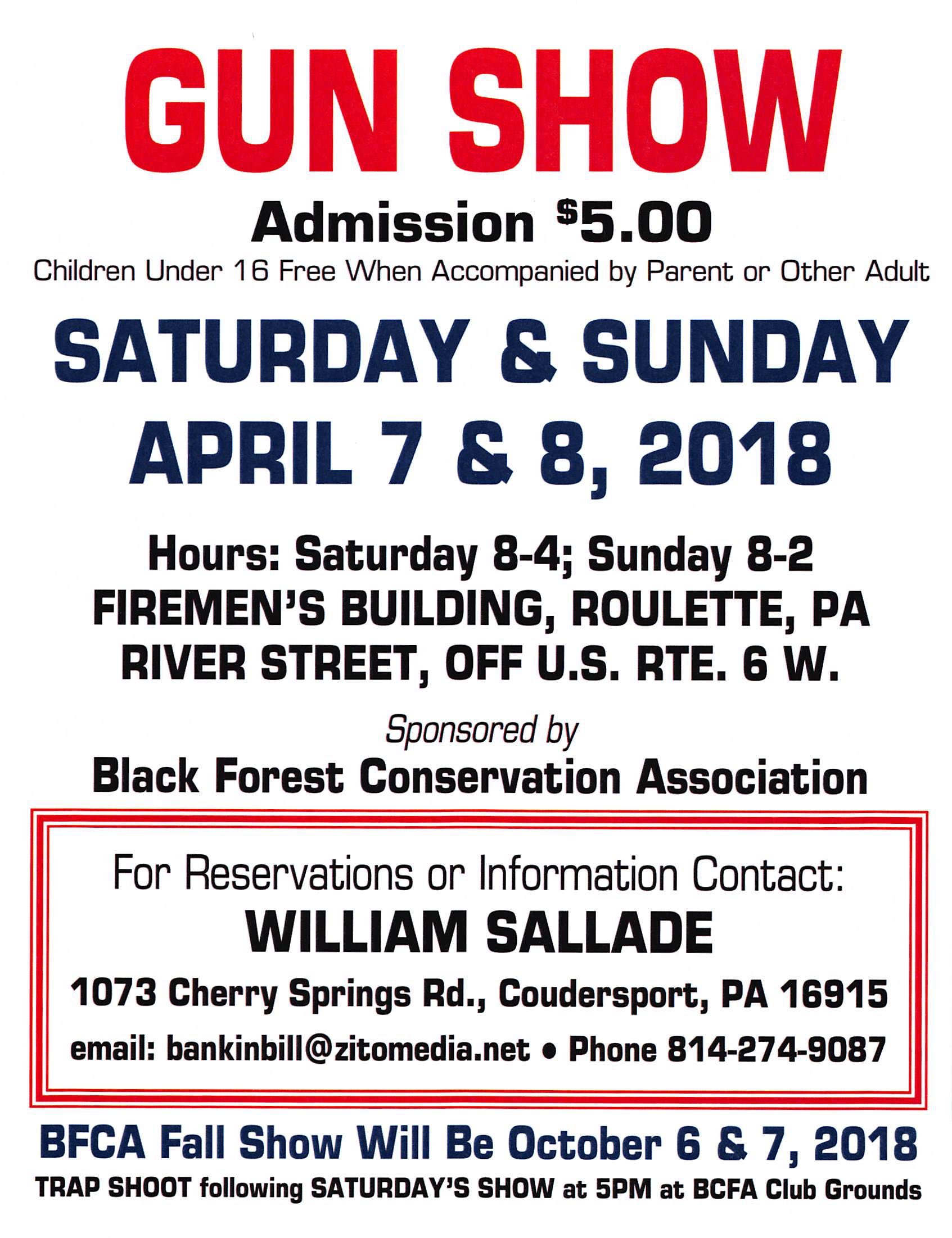 Coudersport, PA gun show sponsored by the Black Forest Conservation Association
