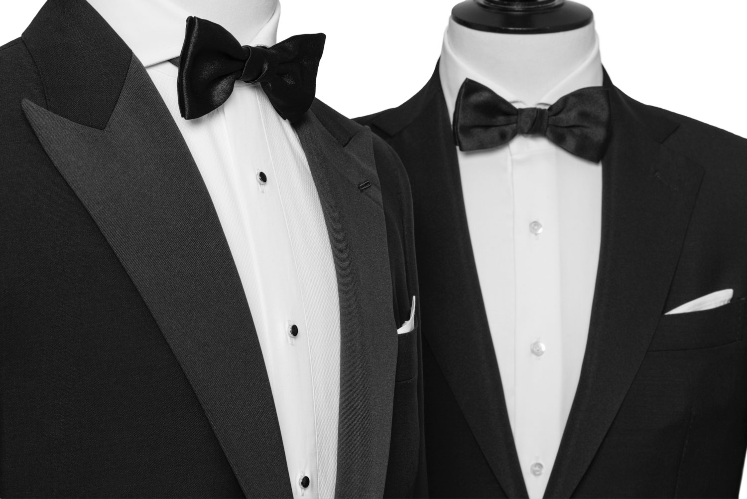 formalwear - A corner stone in every gentleman's wardrobe. We offer a variety of executions on the tuxedo, the dinner jacket and all of the appropriate accessories, including custom shoes. Our offerings cover everything from the most classic to the less conventional, assuring to cover all of your formal needs. Tuxedo pricing starts at $1,200 with all options included. Please allow 4-6 weeks for delivery.