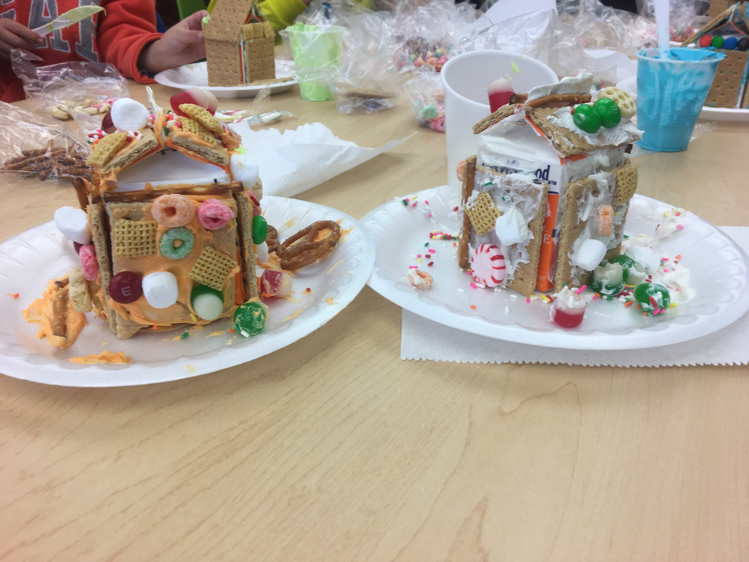 Sticky but fun gingerbread house-making!