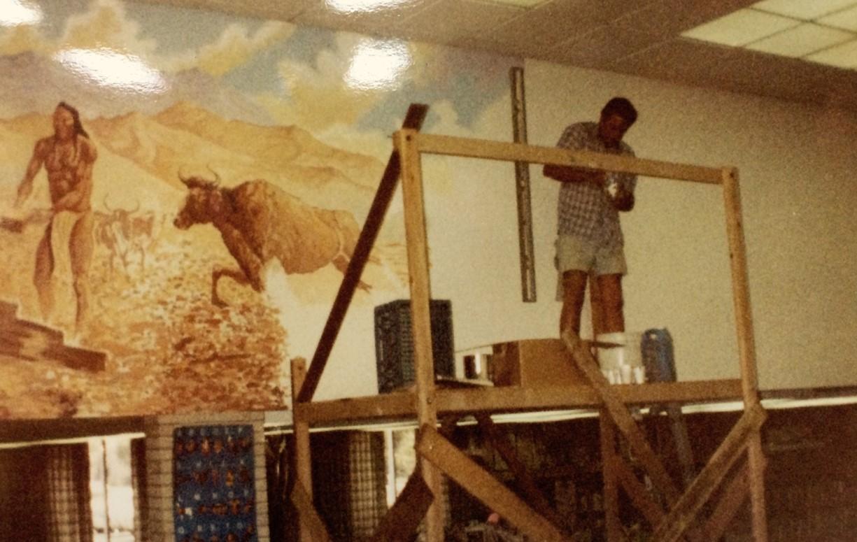 Original mural being painted by Robert Freeman, 1967