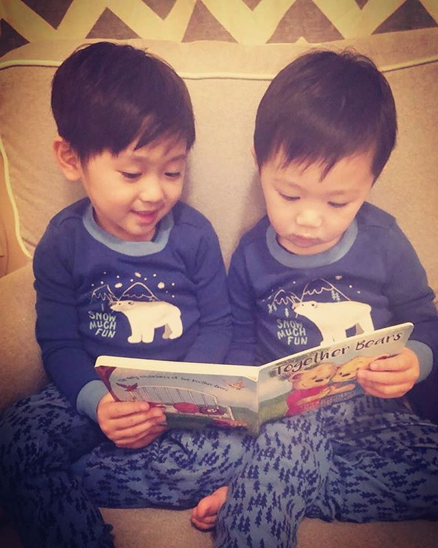 Brothers reading about brothers just like themselves! #togetherbearsbook