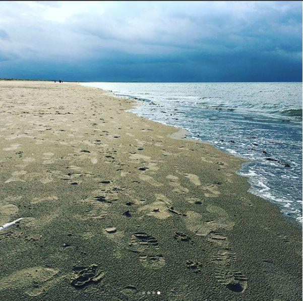 Footprints on Brancaster beach -