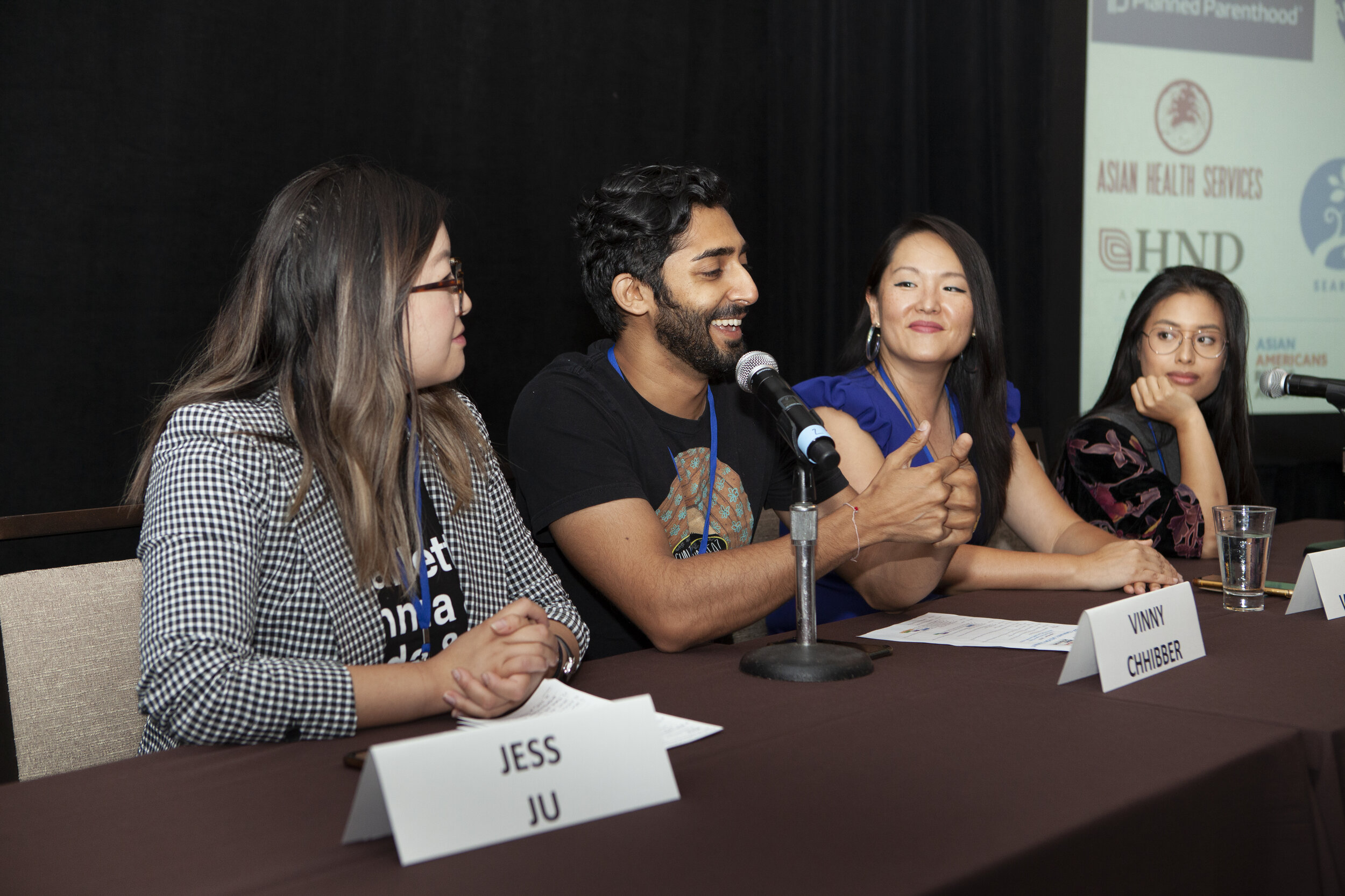 Jess Ju. Vinny Chhibber, Nancy Wang Yuen, and Vivien Ngô discuss being AAPI in Hollywood at the AAPI Community Action Summit.