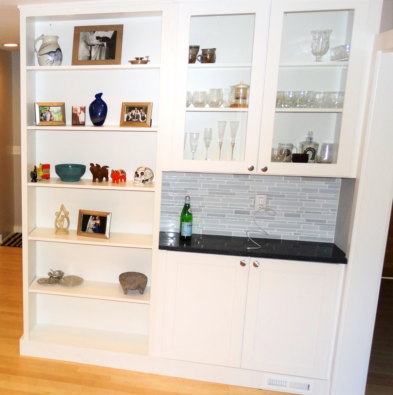 wet bar kitchen white cabinet charging station