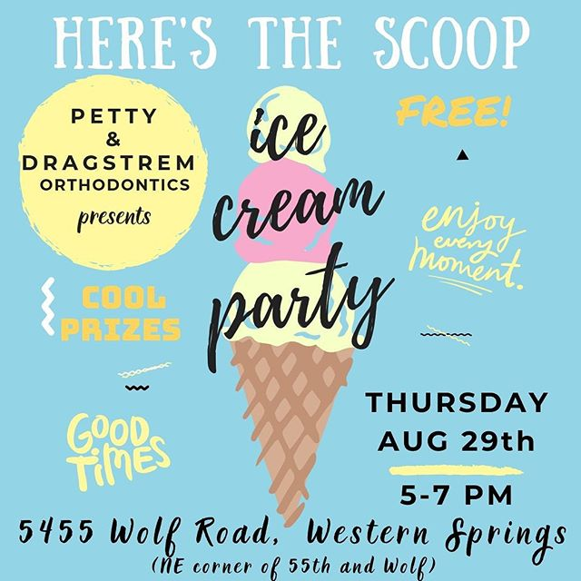 I scream you scream we all scream for FREE ICE CREAM from the ice scream truck!! 🍦 join us TOMORROW 5-7 at our Western Springs office for treats, games, face painting, and raffle to win $100 to target 🎯 #brightsmilingfutures #westernspringsorthodontist #icecream #backtoschool