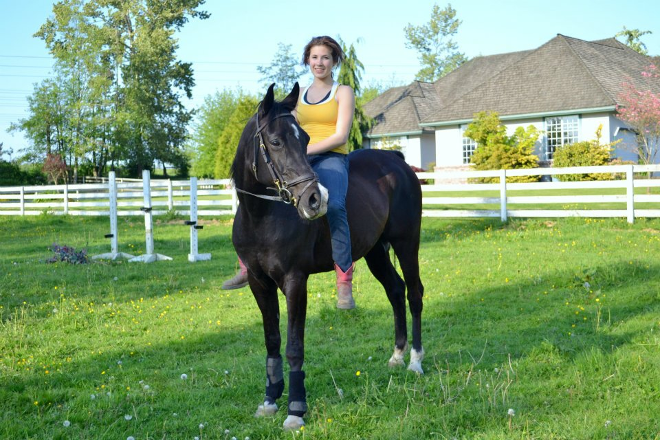 My Arabian, Farley and I after moving barns. I used to think riding without a helmet was cool, now I think not having brain damage is cool.