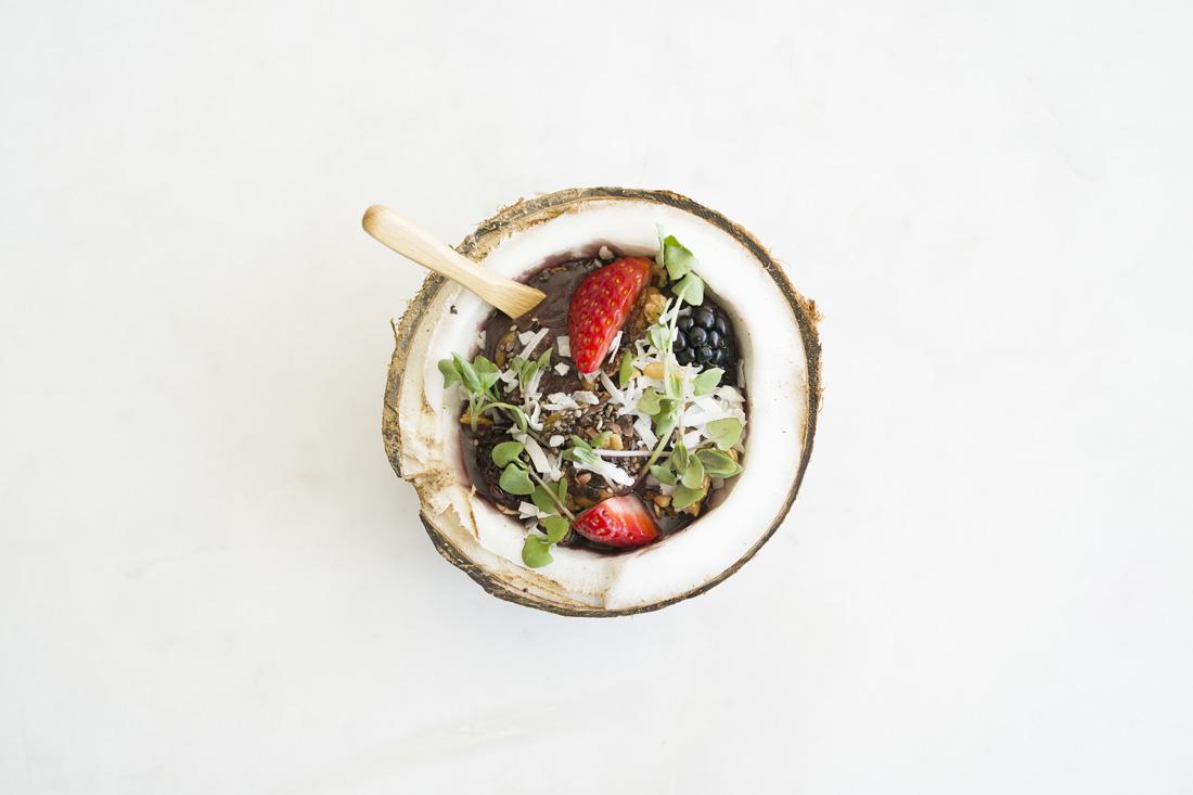 SIGNATURE ACAI BOWL - Acai Blend with Almond Butter, Banana, Seasonal Berries, Pineapple, Coconut Flake, Chia Seeds, Cocoa Nibs, Granola