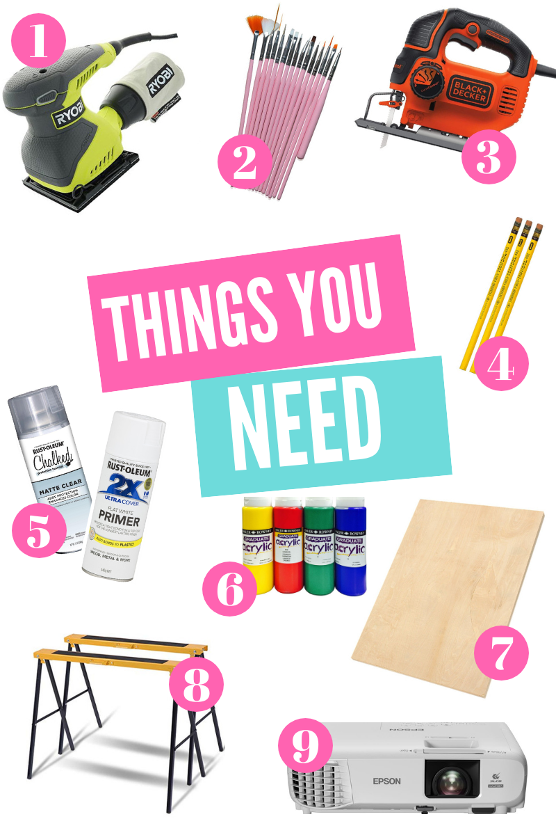 1. Power Sander, 2. Paint Brushes (all sizes), 3. Jig Saw, 4. Pencils, 5. Spray Paint Primer and Clear Matte Sealer, 6. Acrylic Paints, 7. 1/4' Thick Wood panels, 8. Sawhorses Stands, 9. Projector (Or you can print out your own large scale stencils.
