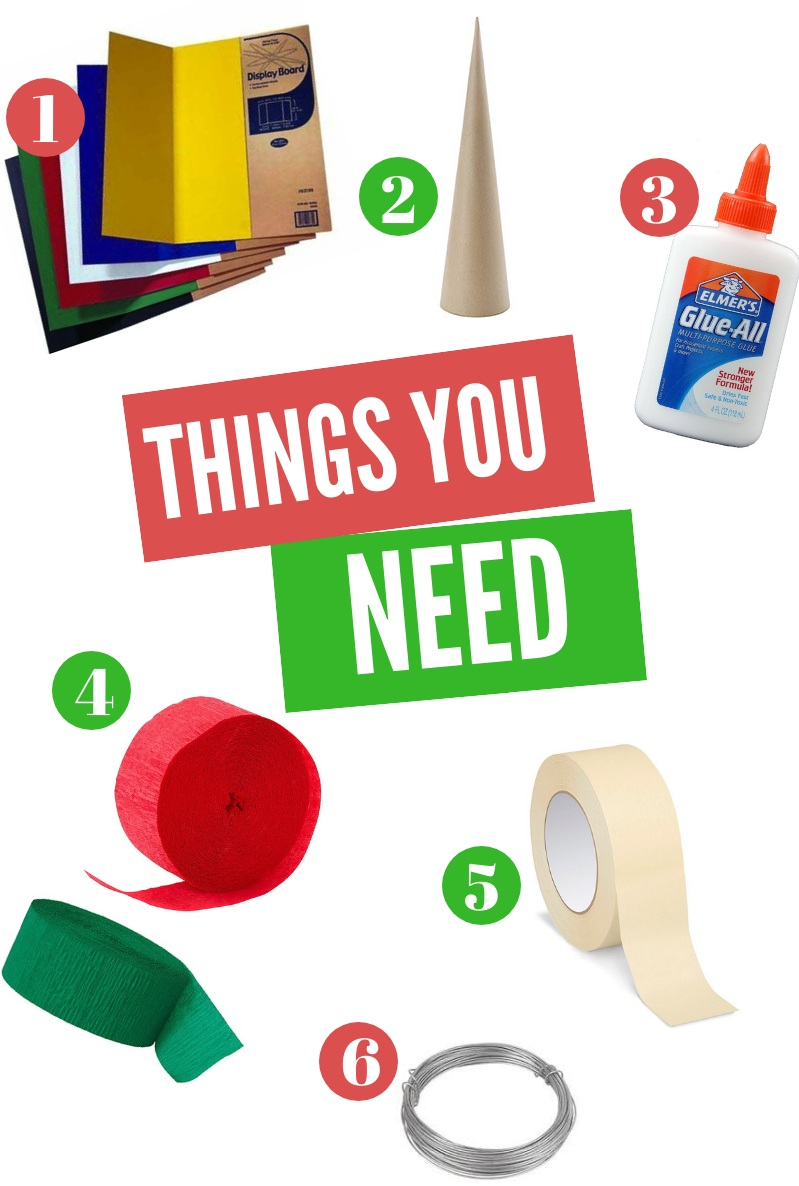 1. Poster Board/ Project Board, 2. Paper Mache Tree, 3. Glue, 4. Colored Crepe Paper Party Streamers, 5. Masking Tape, 6. Plant Wire/Thin Galvanized Steel