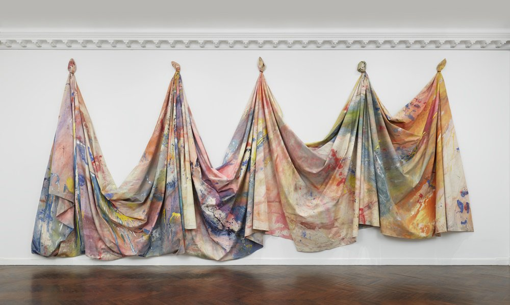 "Installation view of ""Sam Gilliam : 1967–1973 at Mnuchin Gallery. Photography Tom Powel Imaging. Artwork © Sam Gilliam."