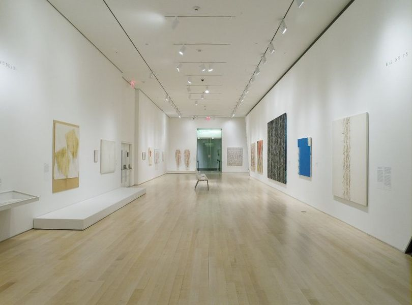 Installation view of Ghada Amer: Love Has No End at the Brooklyn Museum, curated by Maura Reilly