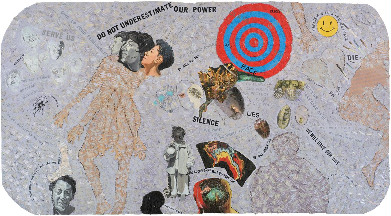 Autobiography: Scapegoat, 1990, mixed media on canvas, 72 x 141 inches