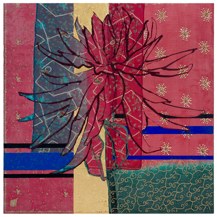 "Robert Kushner,  Large Red Dahlia , 2017,  oil, acrylic, gold leaf, silk, embroidery, and sequins on canvas, 72 x 72""."