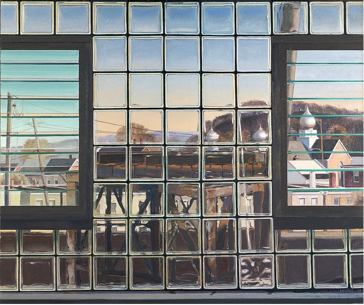 Six O'Clock in Mill Town, 2014, oil on linen, 42 x 50 inches