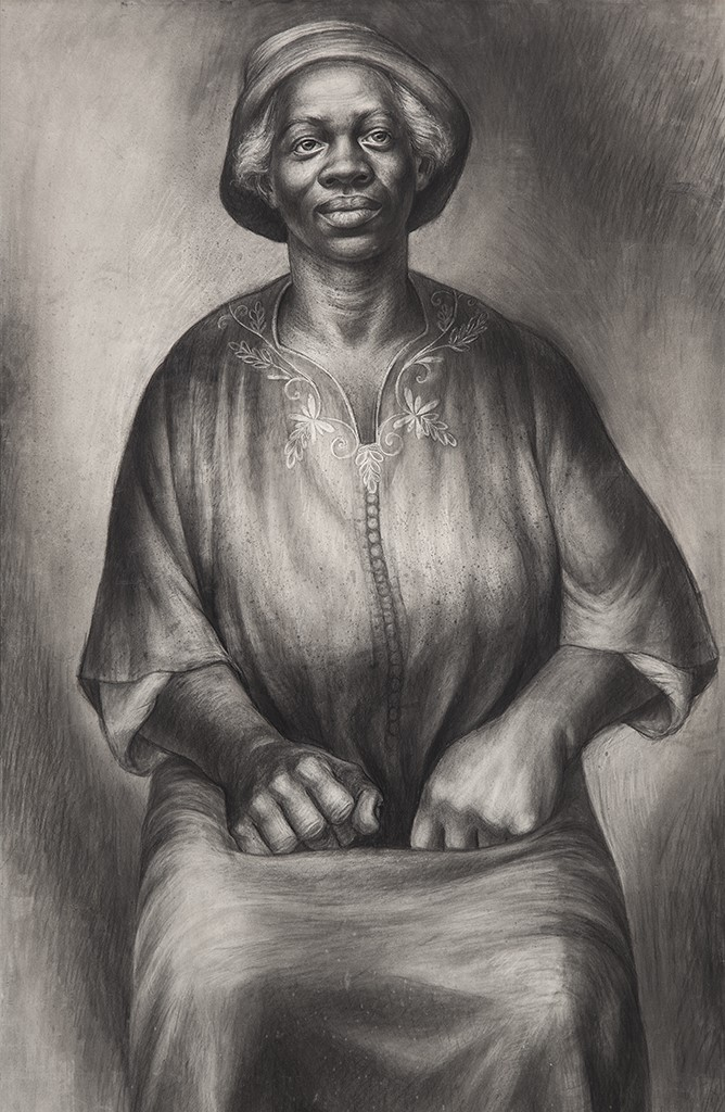 Charles White (1918-1979), I Been Rebuked & I Been Scorned, 1954, charcoal and Wolff crayon on paper, 43 1/2 x 27 1/4 / 110.5 x 69.2 cm, signed. Copyright The Charles White Archives.