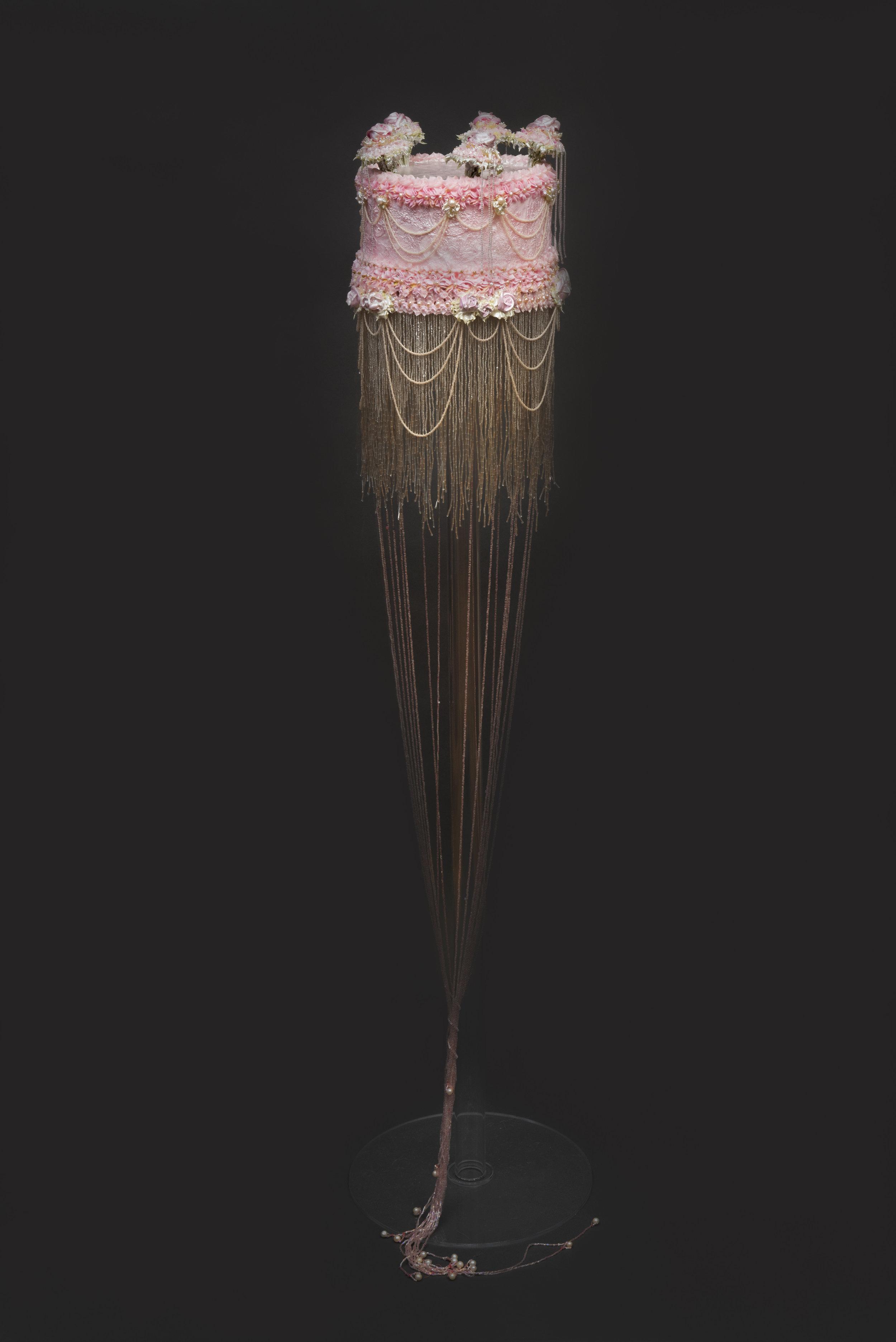Ilana Tova , 2018, acrylic, pearls and mixed media, 75 x 9 inches