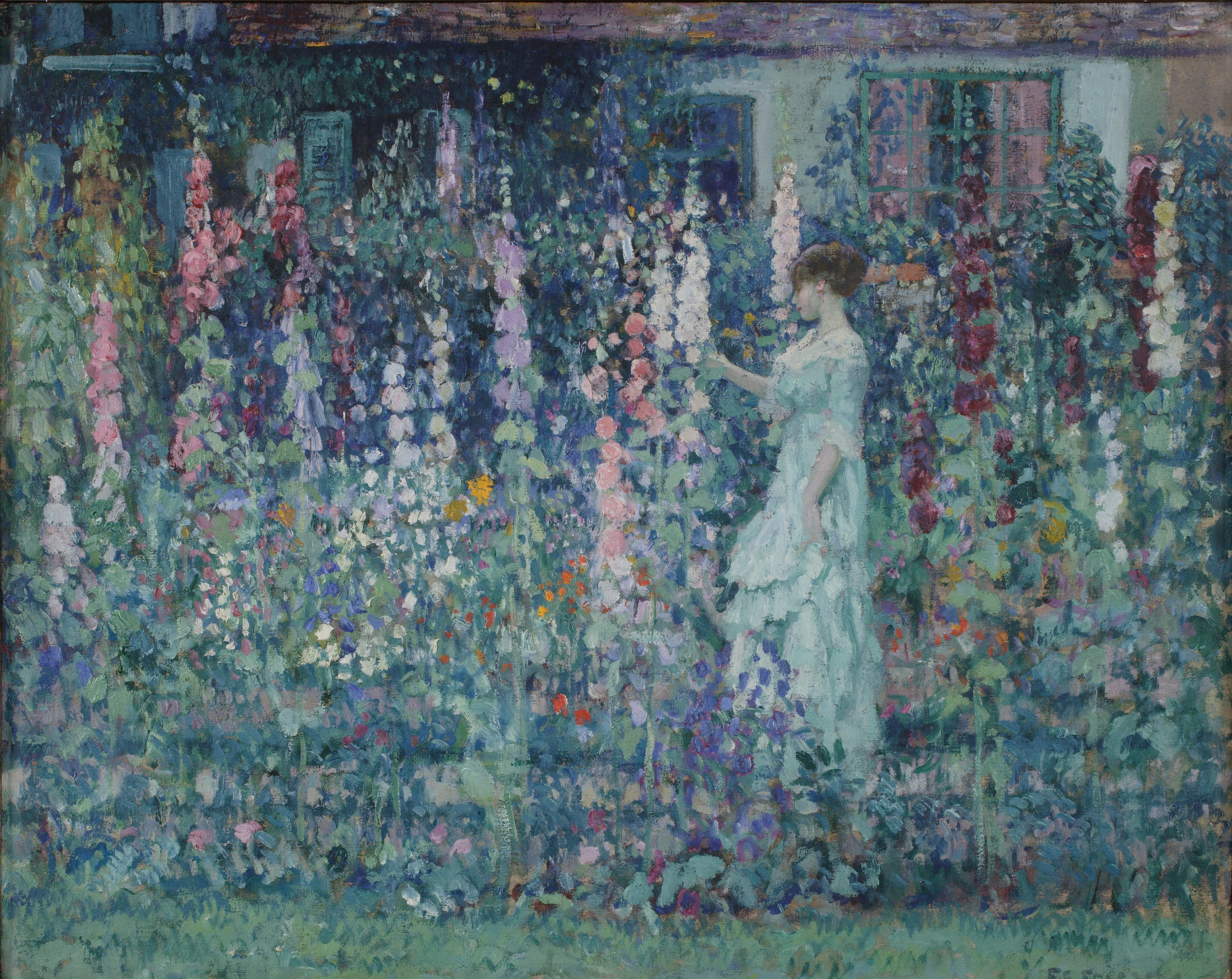 Frederick Carl Frieseke (1874-1939),  Hollyhocks , by 1911  Oil on canvas, 25 ½ × 32 in.  NA diploma presentation, November 2, 1914