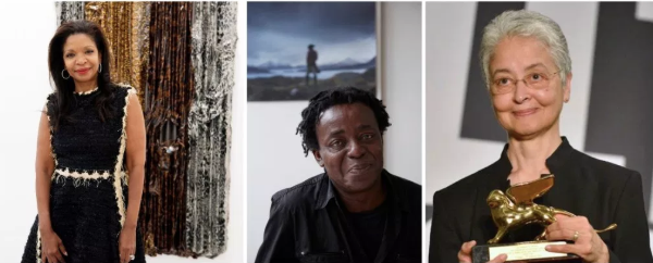 New entrants on the Power 100 list include Pamela Joyner, John Akomfrah, and Adrian Piper. | Photos by Linda Nylind, Jack Hems © Smoking Dogs Films, and SN/APA (EPA)/Andrea Merola