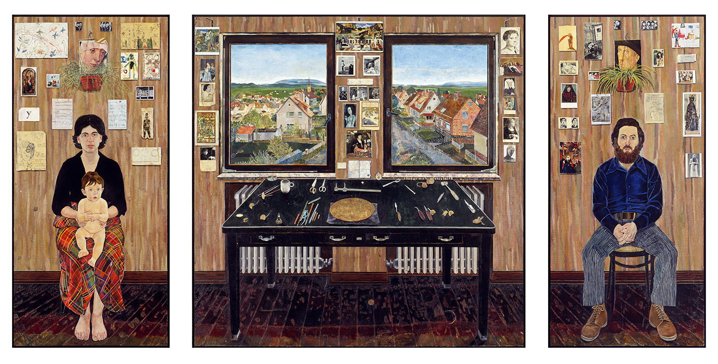 Simon Dinnerstein, NA,  The Fulbright Triptych , 1971–74, oil on wood panels, 79 ½ x 168 in., framed and separated. Click to enlarge.  COLLECTION OF THE PALMER MUSEUM OF ART, PENNSYLVANIA STATE UNIVERSITY