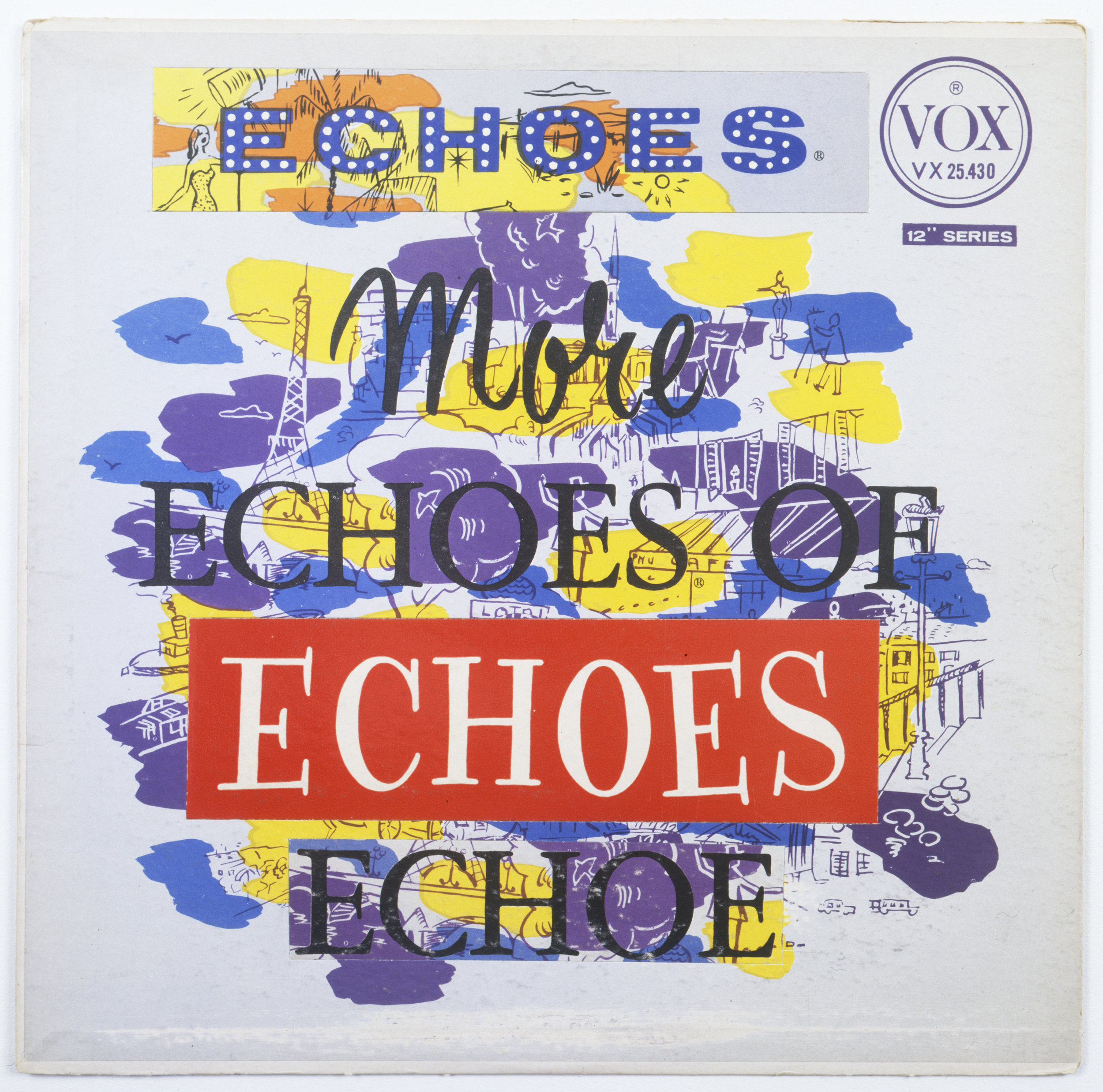 """Christian Marclay,  More Echoes (from the series """"Imaginary Records"""") , 1997,  altered record album cover, 12 1/4 x 12 1/4 in."""