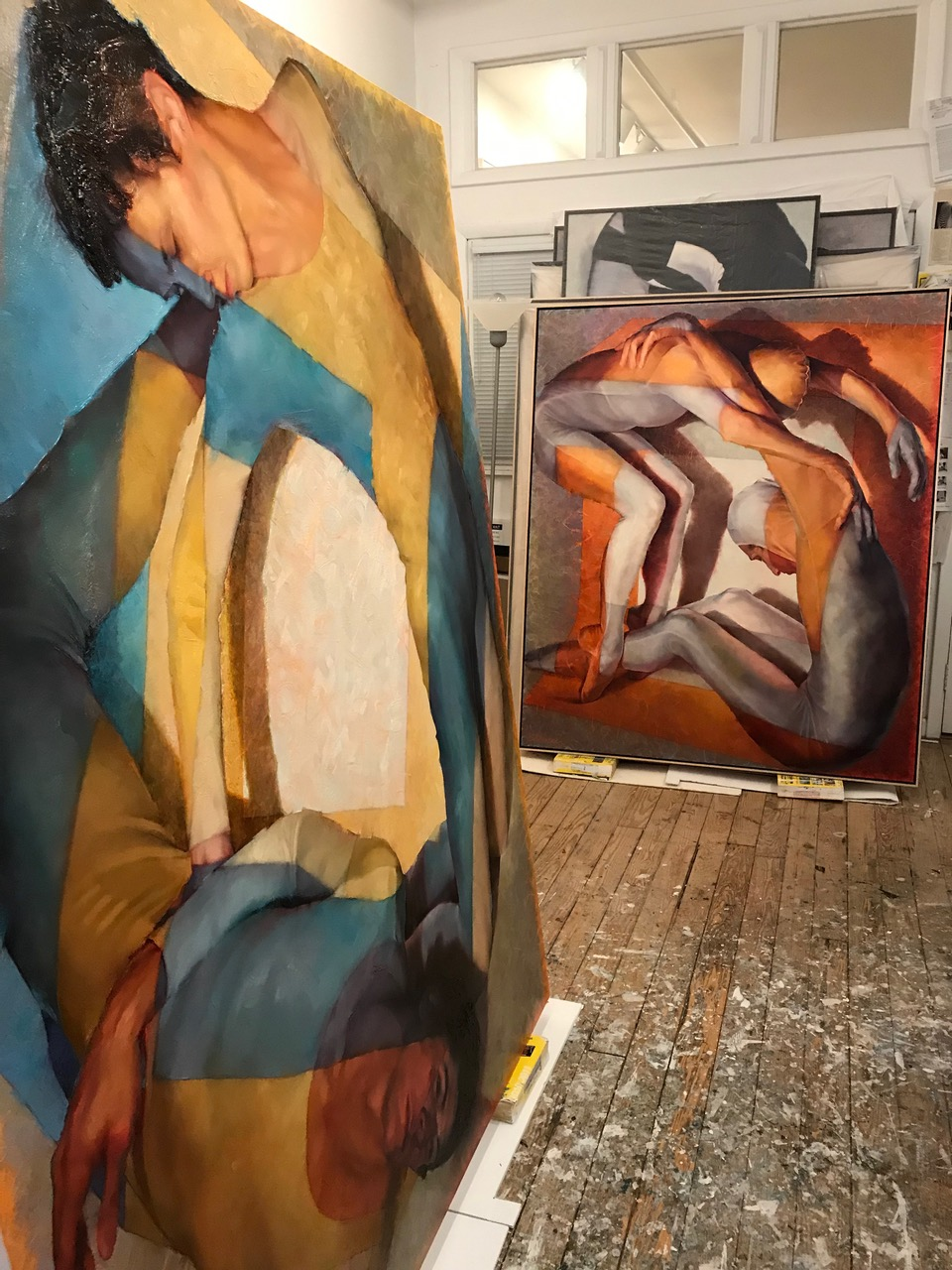 Lorraine Shemesh Studio Shot with the paintings  SWAY  and  ACCORDION