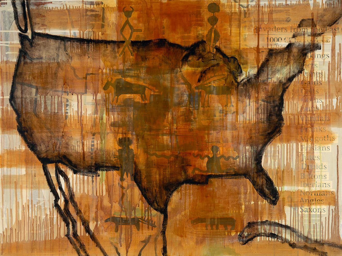 Jaune Quick-to-See Smith, NA, The Browning of America, 2000, mixed media on canvas, 36 x 48 inches. Collection of the Crocker Art Museum, Sacramento, California. Purchase with contributions from Gail and John Enns and the George and Bea Gibson Fund, 2007.23.