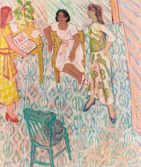Barbara Grossman, NA,  Green Chair,  2017, oil on linen, 56 x 47 in.