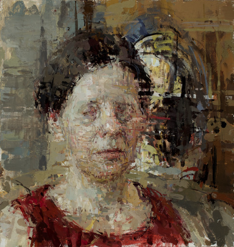 Ann Gale, NA:  Shawna , 2016, oil on linen-wrapped panel, 11.5 × 11""