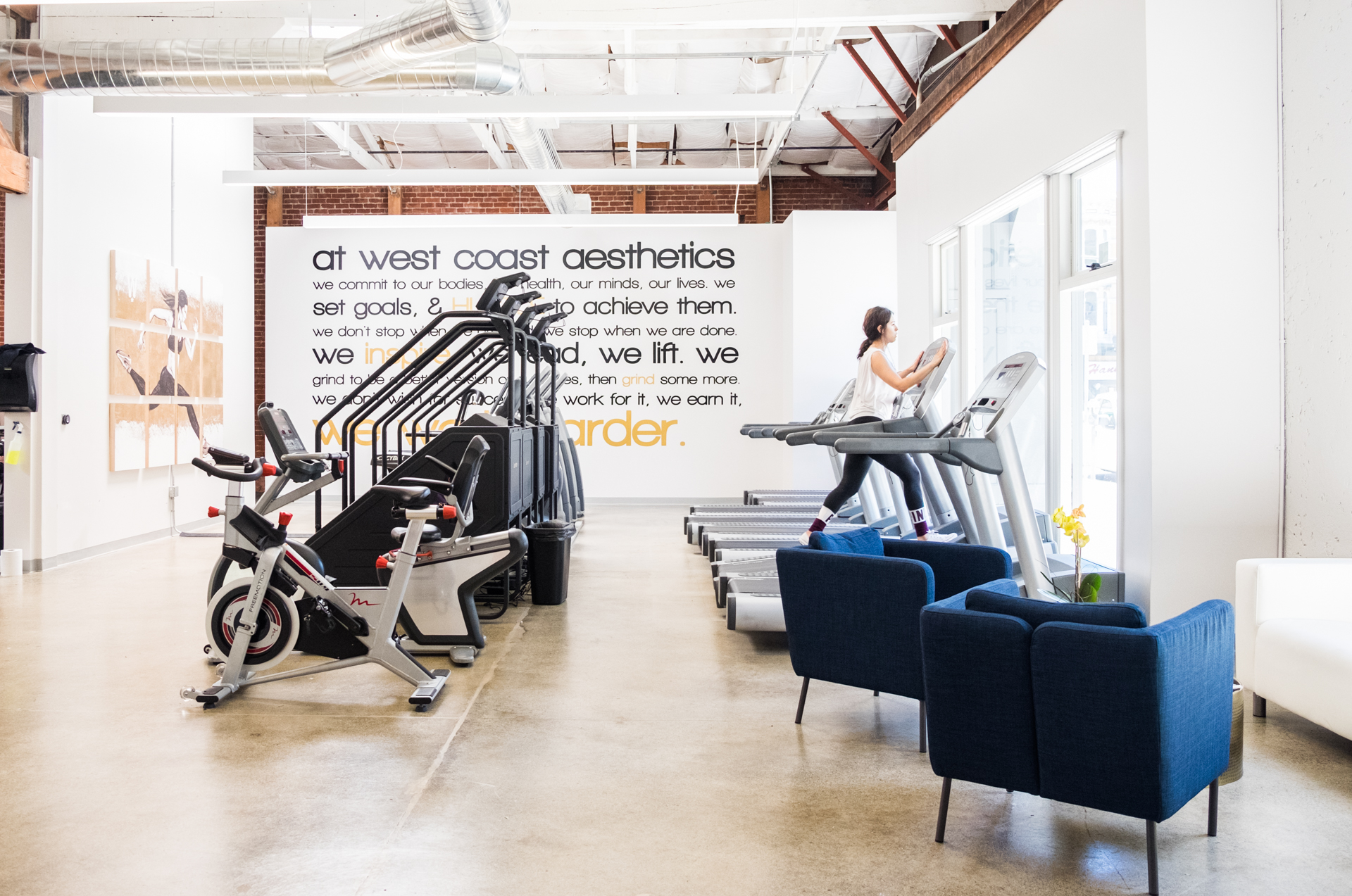 Welcome... - to West Coast Aesthetics, WESTCA, a boutique gym in downtown San Jose.  At WESTCA we bring our members a modern style in an approachable atmosphere; a place to work hard with friends,  stay motivated, and gain confidence & knowledge. We are community of all fitness levels, and offer an elite personal training team for those looking to take their fitness to the next level.