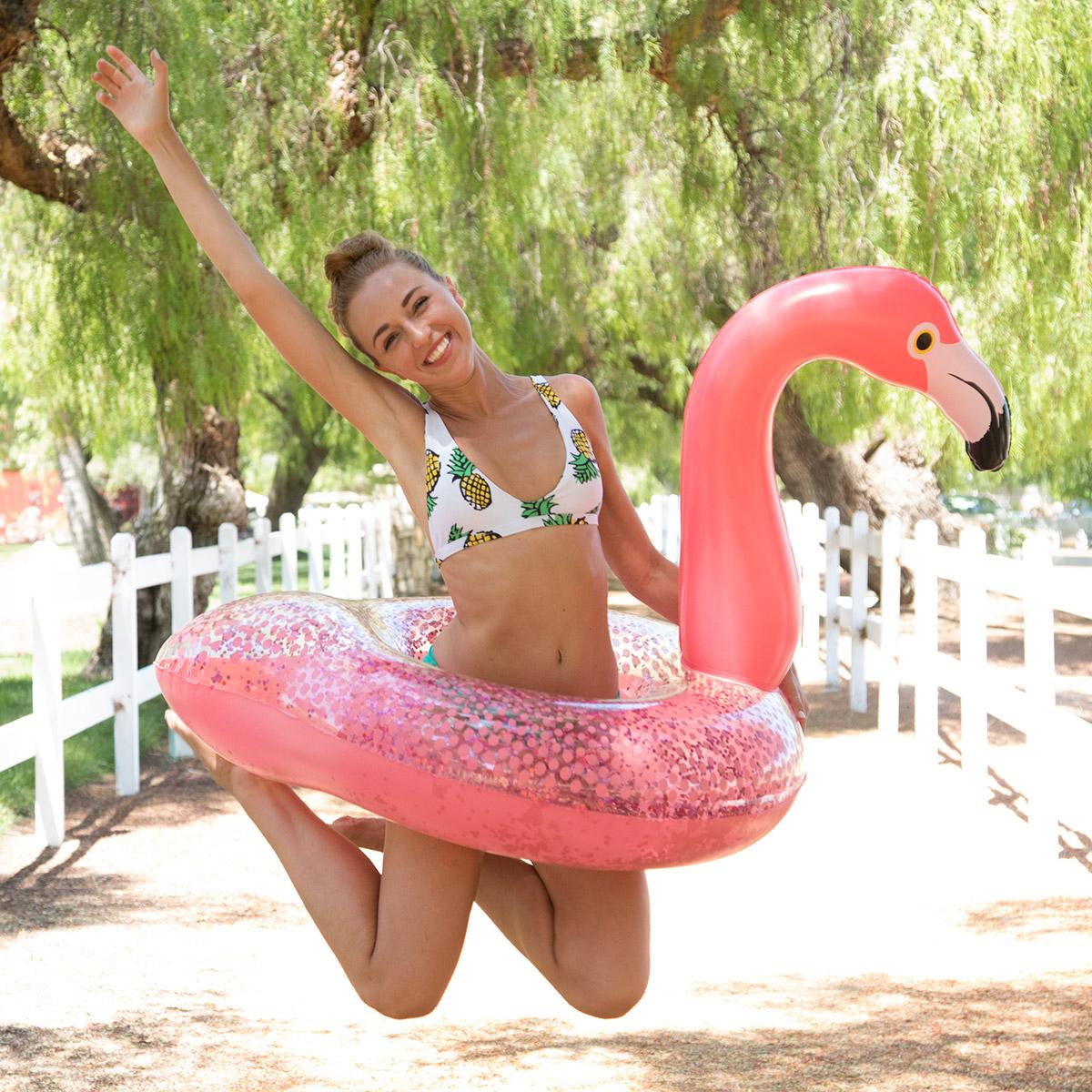 Glitter Sparkles Flamingo Tube |   Available at Walmart