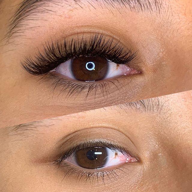 Mixed volume lashes before and after🧡 • • • #lashes #lash #lashextensions #lashsalon #salontechnique #ravegirls #ravegirl #makeup #behindrhechair #nomakeup #beauty #fullerton #dtf #downtown #ocsalon #lashstudio #oclashes