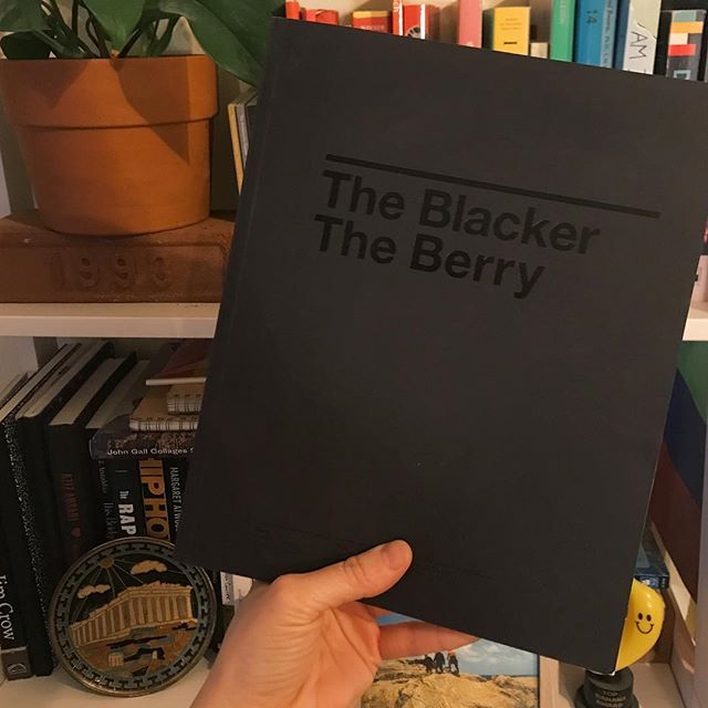 The Blacker The Berry and some of my other favorite books on my bookshelf:  1. The Blacker The Berry - The Book  2. A Seat At The Table - Solange  3. Mohawk Maker Quarterly Issue #14: Lead & Serve 4. Milk & Honey - Rupi Kaur 5. Comp notebook - Aron Fay